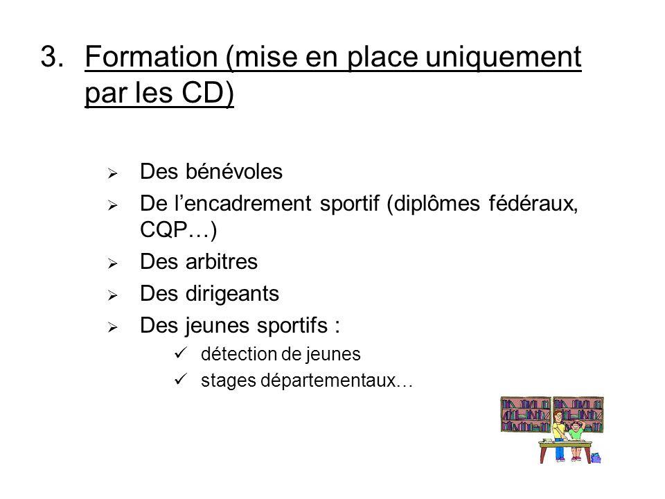 3.Formation (mise en place uniquement par les CD) Des bénévoles De lencadrement sportif (diplômes fédéraux, CQP…) Des arbitres Des dirigeants Des jeunes sportifs : détection de jeunes stages départementaux…