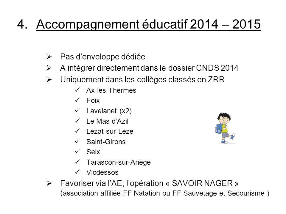 4.Accompagnement éducatif 2014 – 2015 Pas denveloppe dédiée A intégrer directement dans le dossier CNDS 2014 Uniquement dans les collèges classés en Z