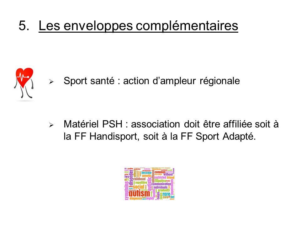 5.Les enveloppes complémentaires Sport santé : action dampleur régionale Matériel PSH : association doit être affiliée soit à la FF Handisport, soit à