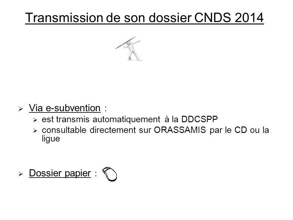 Transmission de son dossier CNDS 2014 Via e-subvention : est transmis automatiquement à la DDCSPP consultable directement sur ORASSAMIS par le CD ou l