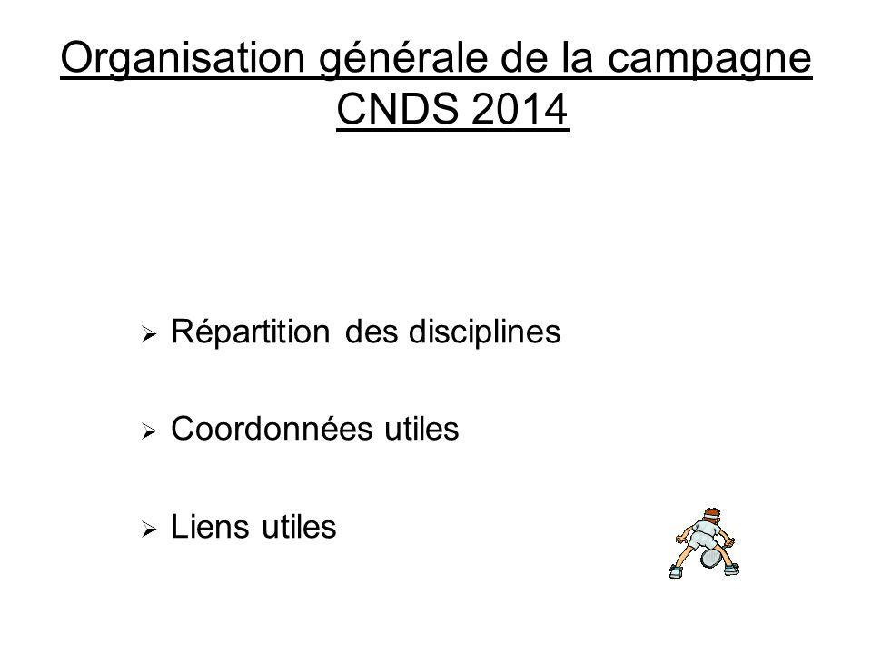 Organisation générale de la campagne CNDS 2014 Répartition des disciplines Coordonnées utiles Liens utiles