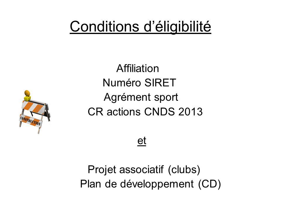 Conditions déligibilité Affiliation Numéro SIRET Agrément sport CR actions CNDS 2013 et Projet associatif (clubs) Plan de développement (CD)