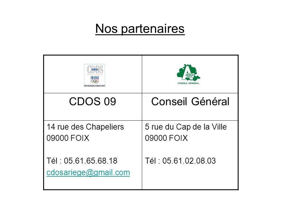 Nos partenaires CDOS 09Conseil Général 14 rue des Chapeliers 09000 FOIX Tél : 05.61.65.68.18 cdosariege@gmail.com 5 rue du Cap de la Ville 09000 FOIX Tél : 05.61.02.08.03