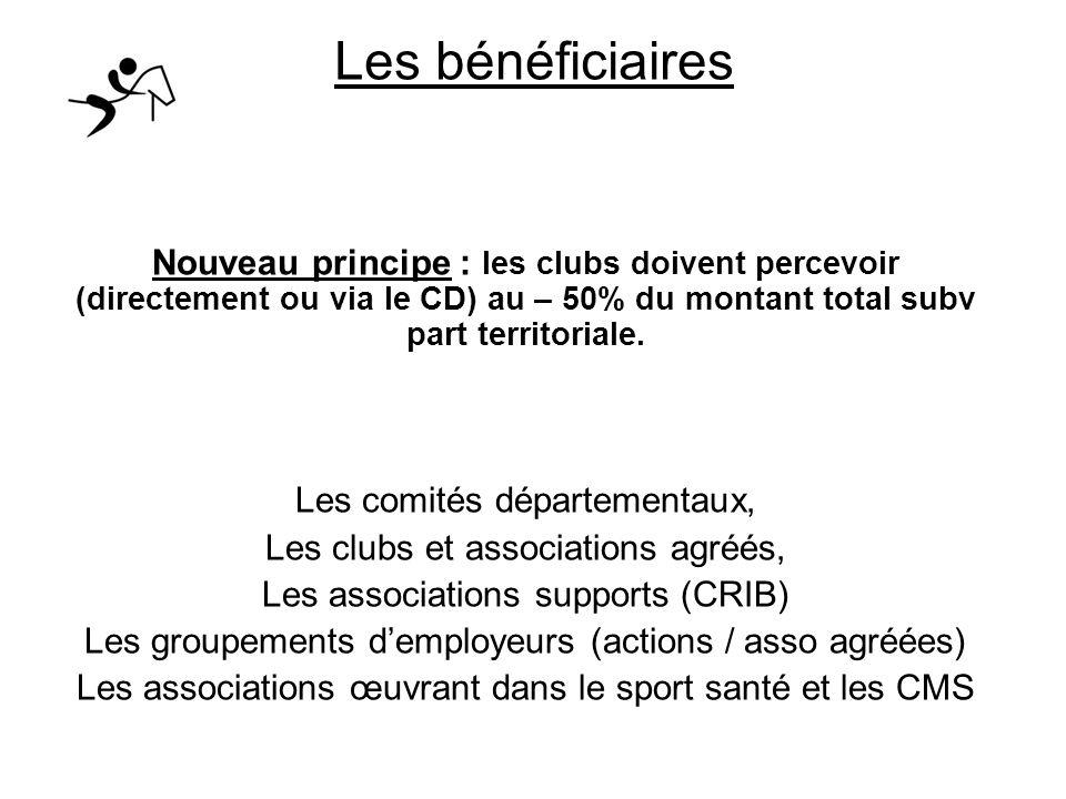Les bénéficiaires Nouveau principe : les clubs doivent percevoir (directement ou via le CD) au – 50% du montant total subv part territoriale. Les comi