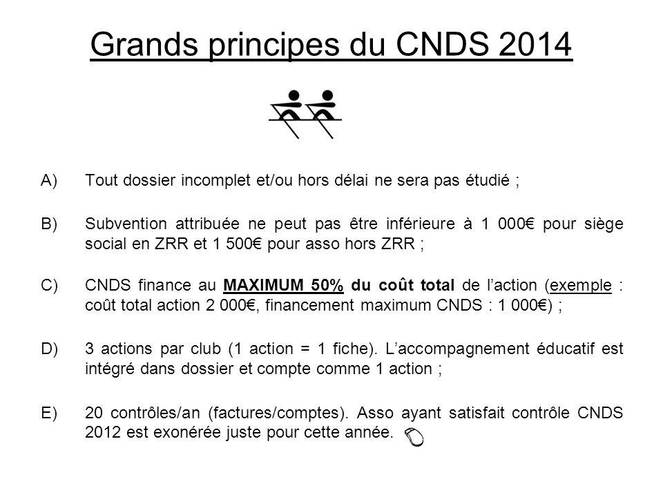 Grands principes du CNDS 2014 A)Tout dossier incomplet et/ou hors délai ne sera pas étudié ; B)Subvention attribuée ne peut pas être inférieure à 1 00