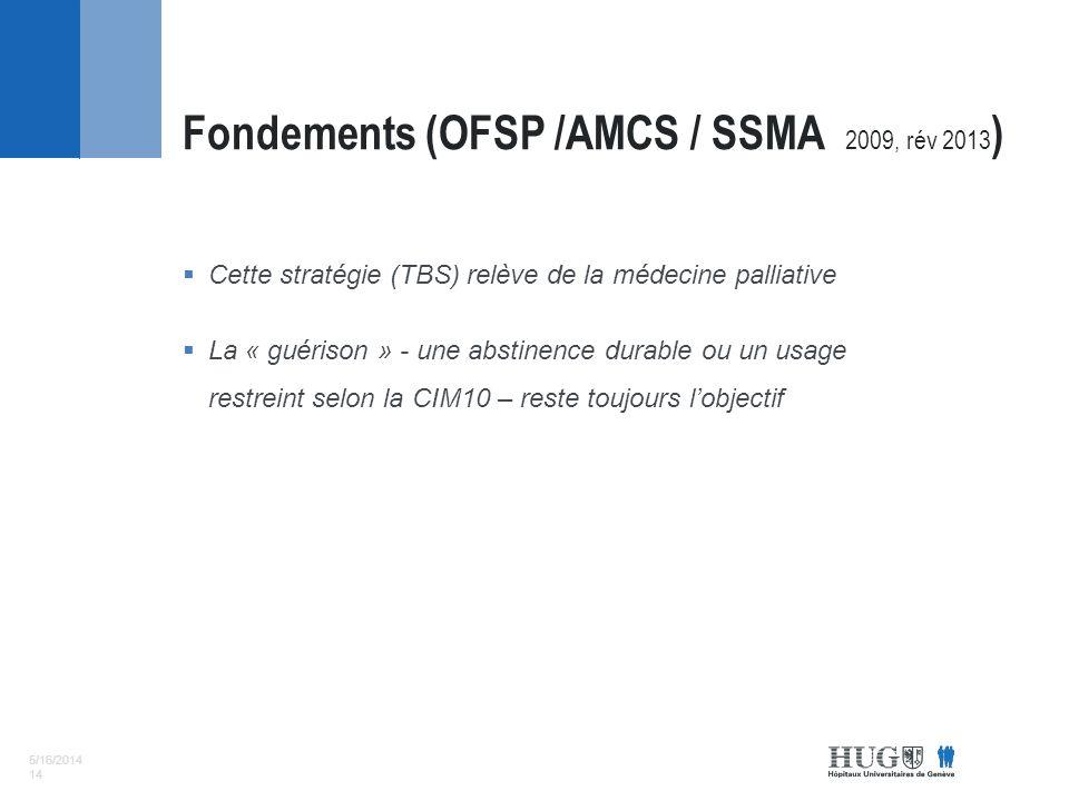 5/16/2014 14 Cette stratégie (TBS) relève de la médecine palliative La « guérison » - une abstinence durable ou un usage restreint selon la CIM10 – reste toujours lobjectif Fondements (OFSP /AMCS / SSMA 2009, rév 2013 )