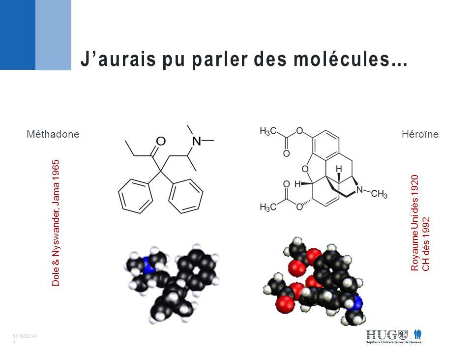 5/16/2014 4 Jaurais pu parler des molécules… MéthadoneHéroïne Dole & Nyswander, Jama 1965 Royaume Uni dès 1920 CH dès 1992