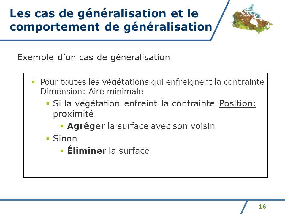 16 Exemple dun cas de généralisation Pour toutes les végétations qui enfreignent la contrainte Dimension: Aire minimale Si la végétation enfreint la c