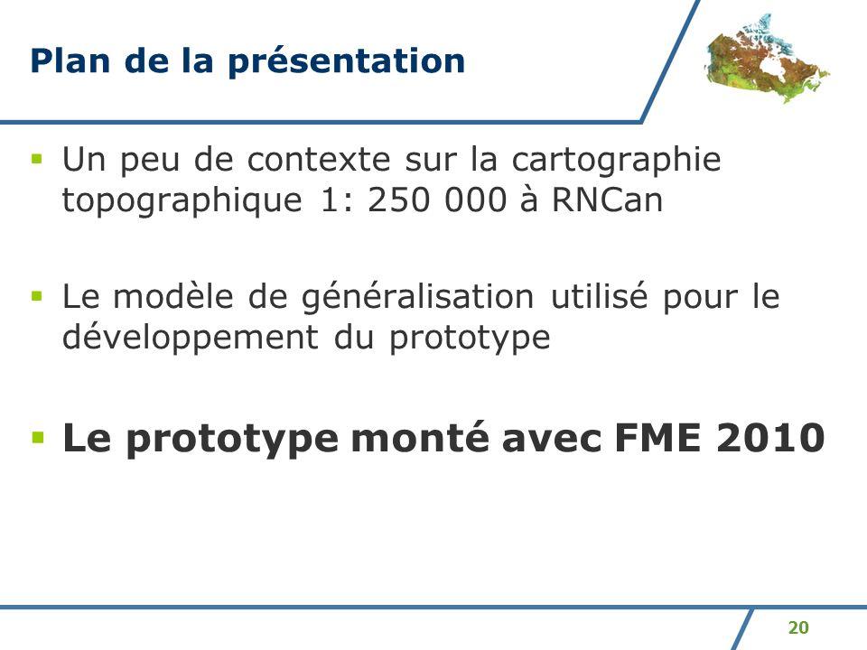 20 Plan de la présentation Un peu de contexte sur la cartographie topographique 1: 250 000 à RNCan Le modèle de généralisation utilisé pour le dévelop