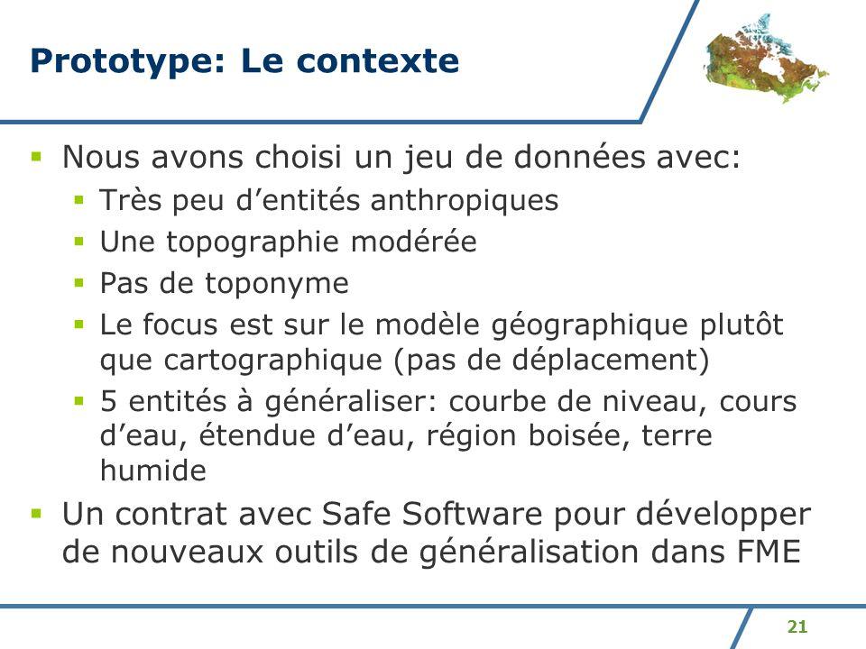 21 Prototype: Le contexte Nous avons choisi un jeu de données avec: Très peu dentités anthropiques Une topographie modérée Pas de toponyme Le focus es