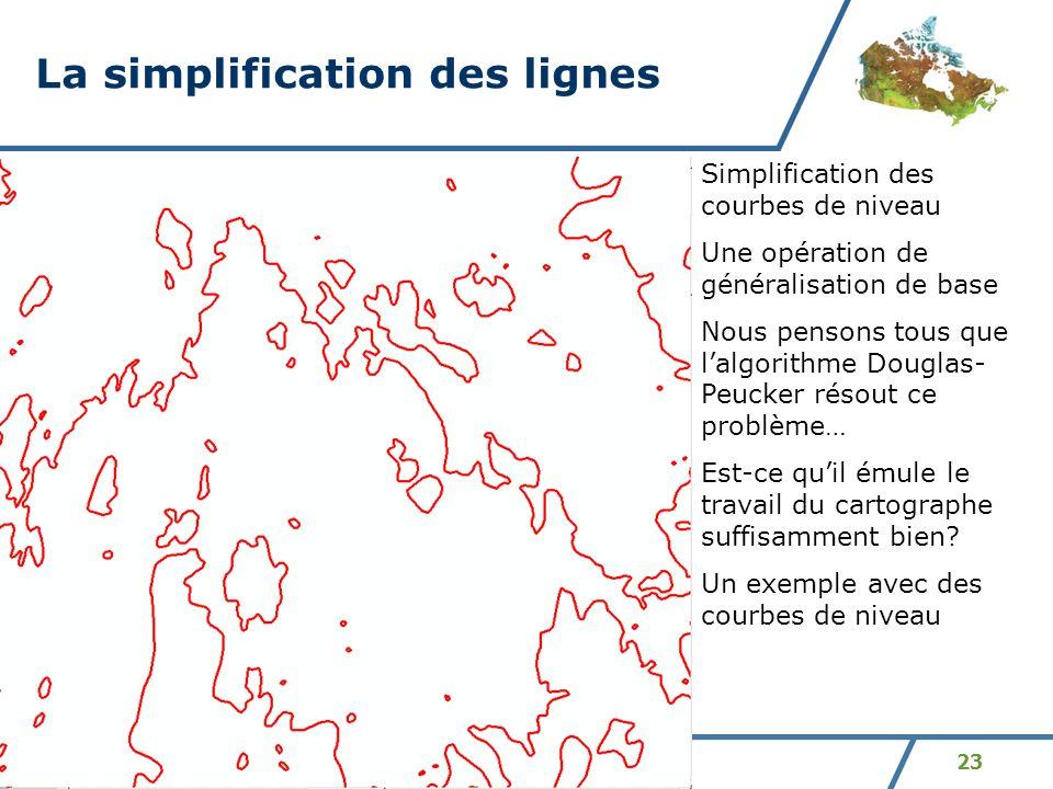 23 La simplification des lignes Simplification des courbes de niveau Une opération de généralisation de base Nous pensons tous que lalgorithme Douglas