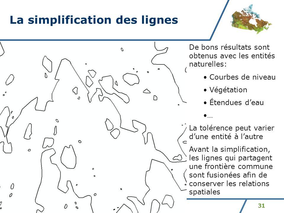 31 La simplification des lignes De bons résultats sont obtenus avec les entités naturelles: Courbes de niveau Végétation Étendues deau … La tolérence