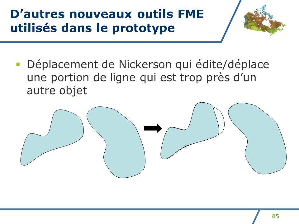 45 Dautres nouveaux outils FME utilisés dans le prototype Déplacement de Nickerson qui édite/déplace une portion de ligne qui est trop près dun autre