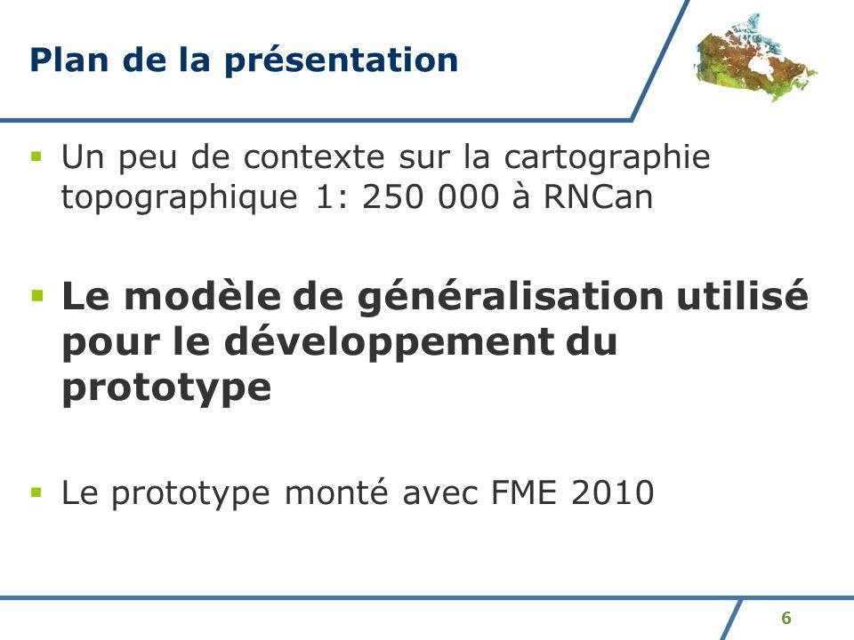 6 Plan de la présentation Un peu de contexte sur la cartographie topographique 1: 250 000 à RNCan Le modèle de généralisation utilisé pour le développ
