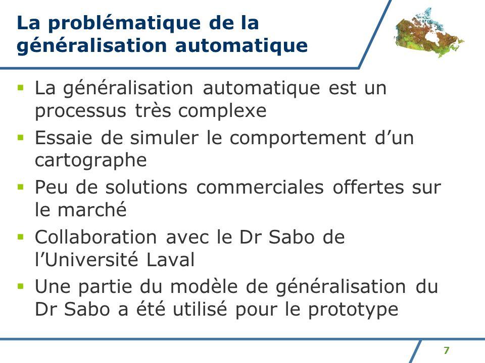 7 La problématique de la généralisation automatique La généralisation automatique est un processus très complexe Essaie de simuler le comportement dun