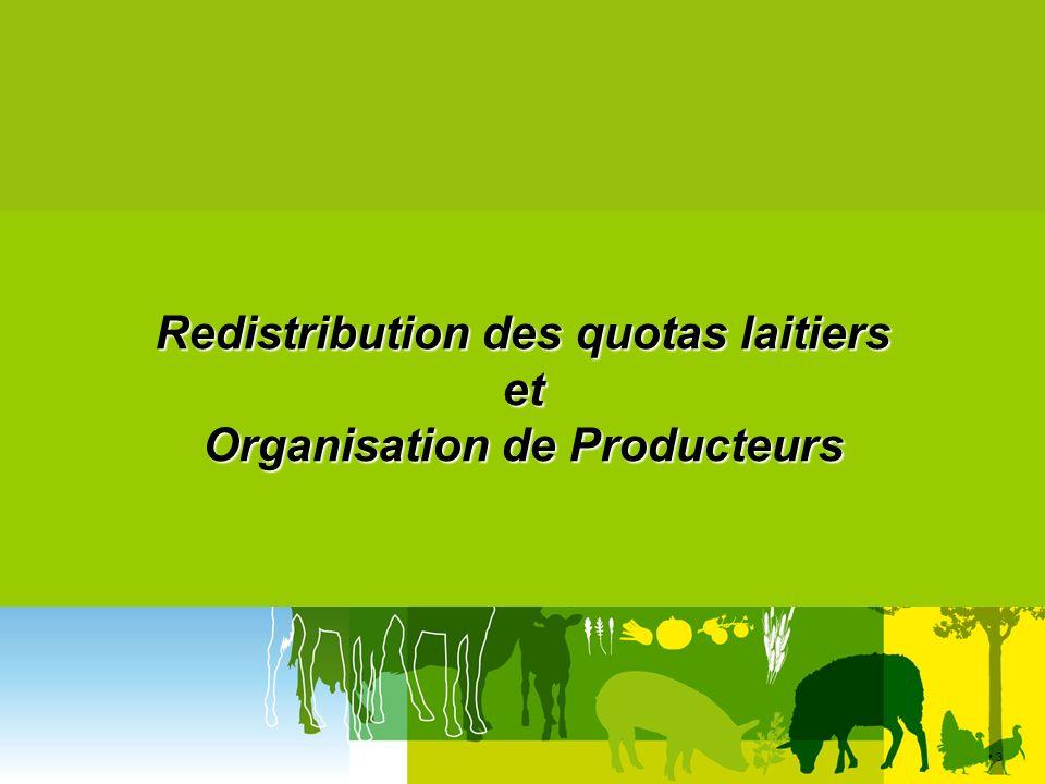 44 SPACE – Rennes 11 septembre 2013 Dispositif fran ç ais le cadre de reconnaissance est fixé par la réglementation UE et nationale le cadre de reconnaissance est fixé par la réglementation UE et nationale - Taille maximum : 3,5 % de la production UE et 33% production nationale et - Seuil minimal : -> 200 producteurs ou 60 ML litres : si « lait de vache » (tous laits SIQO ou non) -> 25 producteurs ou 7 ML litres: si lait 100% sous « signes didentification de la qualité et de lorigine (SIQO) -> négociation avec un seul acheteur : production >= 55 % de la collecte de l acheteur sur la zone de reconnaissance de lOP.