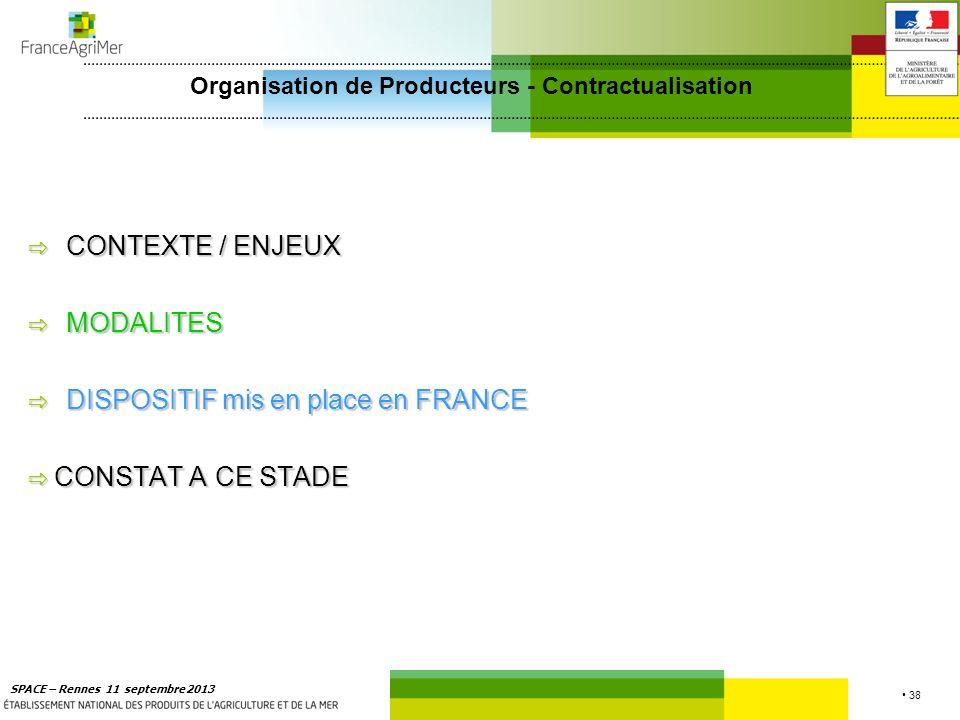 38 SPACE – Rennes 11 septembre 2013 CONTEXTE / ENJEUX CONTEXTE / ENJEUX MODALITES MODALITES DISPOSITIF mis en place en FRANCE DISPOSITIF mis en place