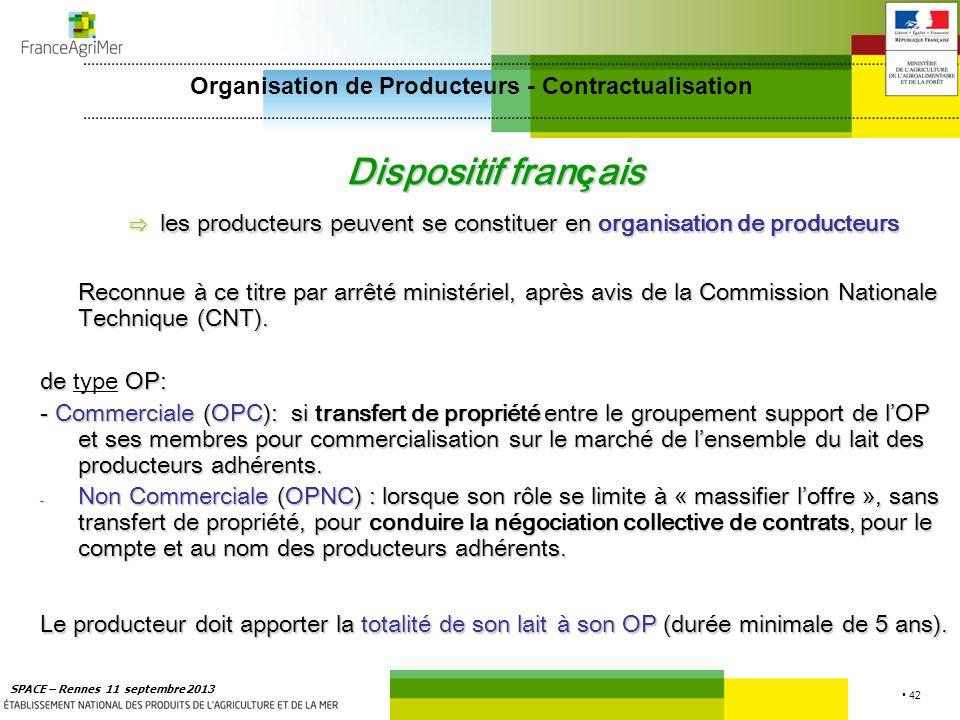 42 SPACE – Rennes 11 septembre 2013 Dispositif fran ç ais les producteurs peuvent se constituer en organisation de producteurs Reconnue à ce titre par