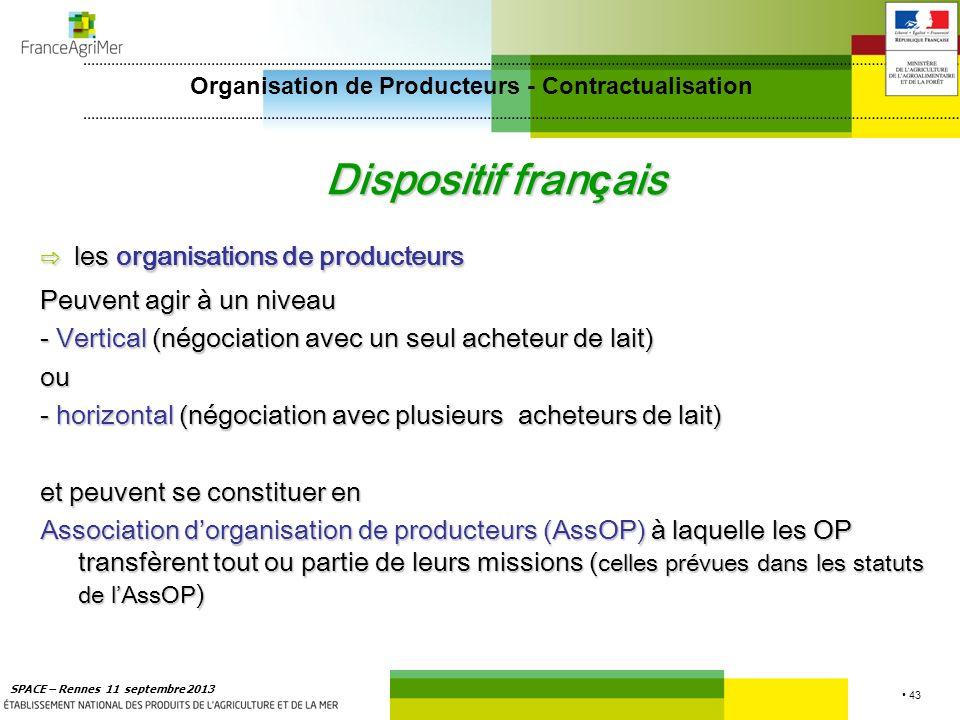 43 SPACE – Rennes 11 septembre 2013 Dispositif fran ç ais les organisations de producteurs les organisations de producteurs Peuvent agir à un niveau -