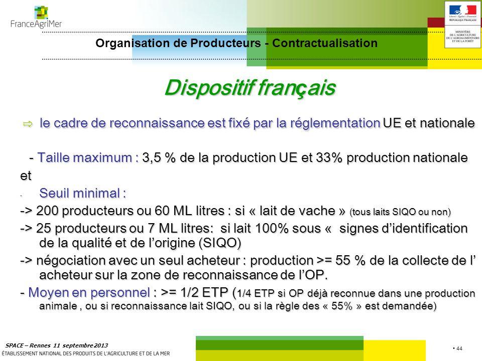 44 SPACE – Rennes 11 septembre 2013 Dispositif fran ç ais le cadre de reconnaissance est fixé par la réglementation UE et nationale le cadre de reconn