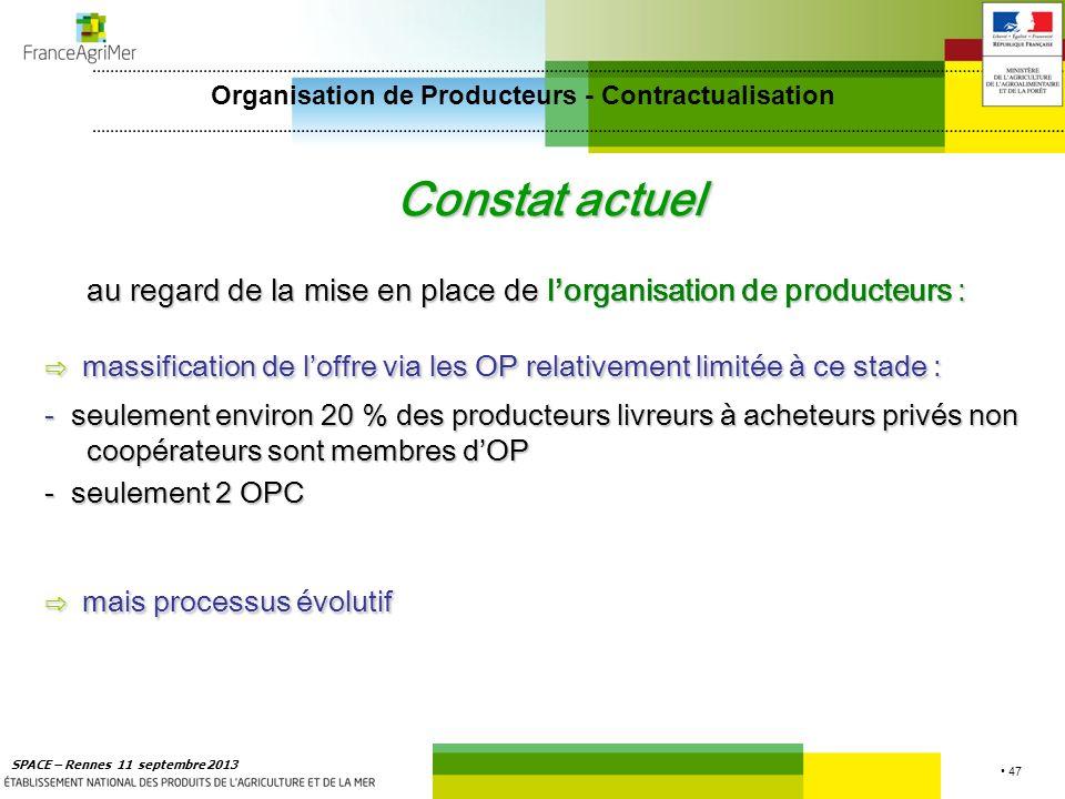 47 SPACE – Rennes 11 septembre 2013 Constat actuel au regard de la mise en place de l organisation de producteurs : massification de loffre via les OP