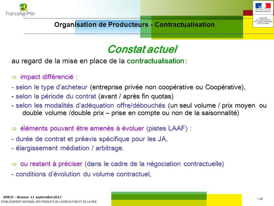 48 SPACE – Rennes 11 septembre 2013 Constat actuel au regard de la mise en place de la contractualisation : impact différencié : impact différencié :