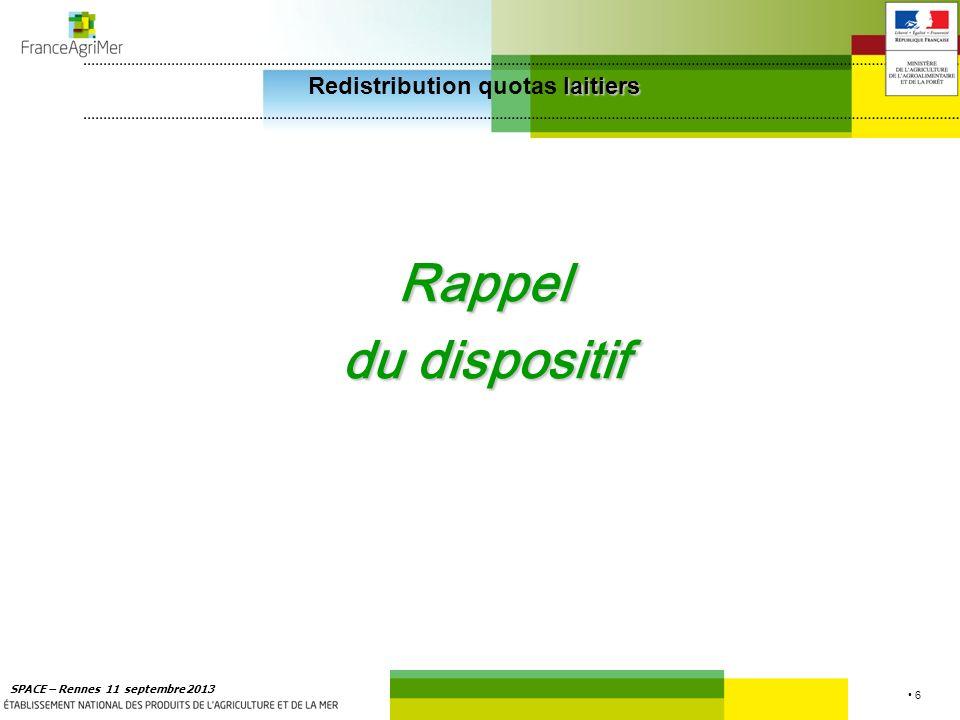 7 SPACE – Rennes 11 septembre 2013 laitiers Redistribution quotas laitiers 9 bassins laitiers Le bassin Grand-Ouest représente 30,2 % du quota national et 32,8 % des livreurs Part des Livreurs Part du quota