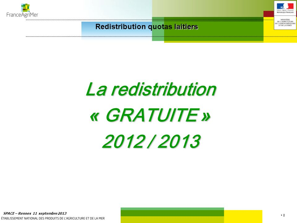 8 SPACE – Rennes 11 septembre 2013 La redistribution « GRATUITE » 2012 / 2013 laitiers Redistribution quotas laitiers