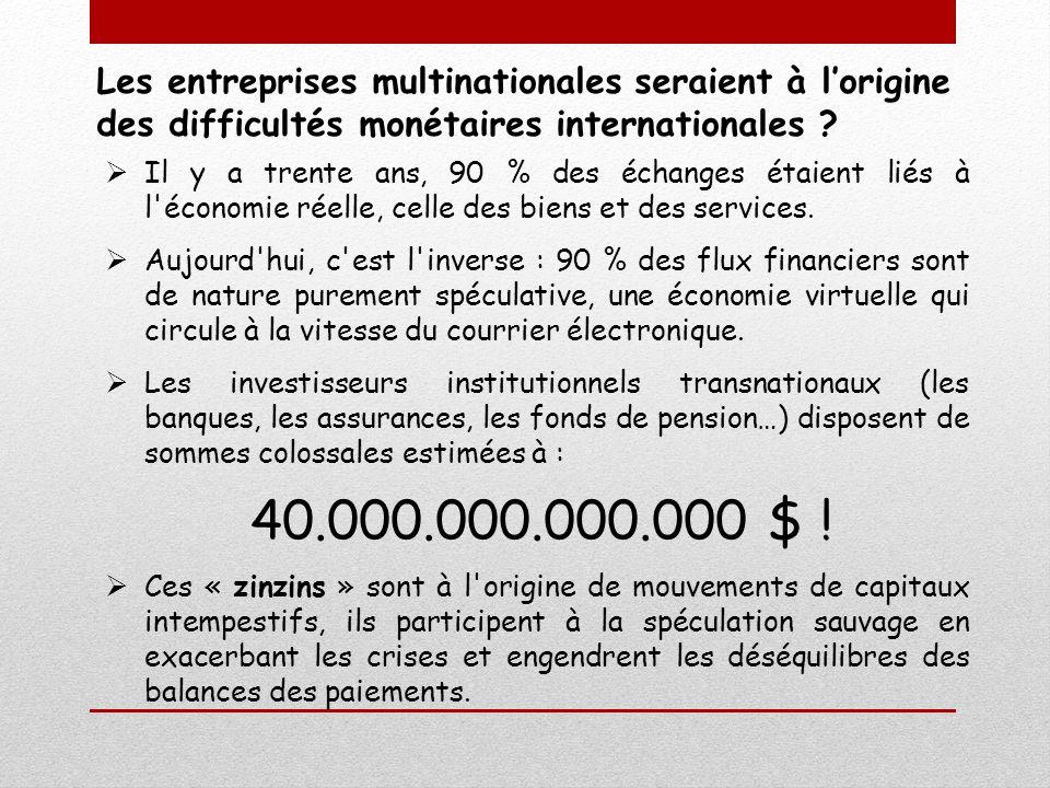 Les entreprises multinationales seraient à lorigine des difficultés monétaires internationales ? Il y a trente ans, 90 % des échanges étaient liés à l