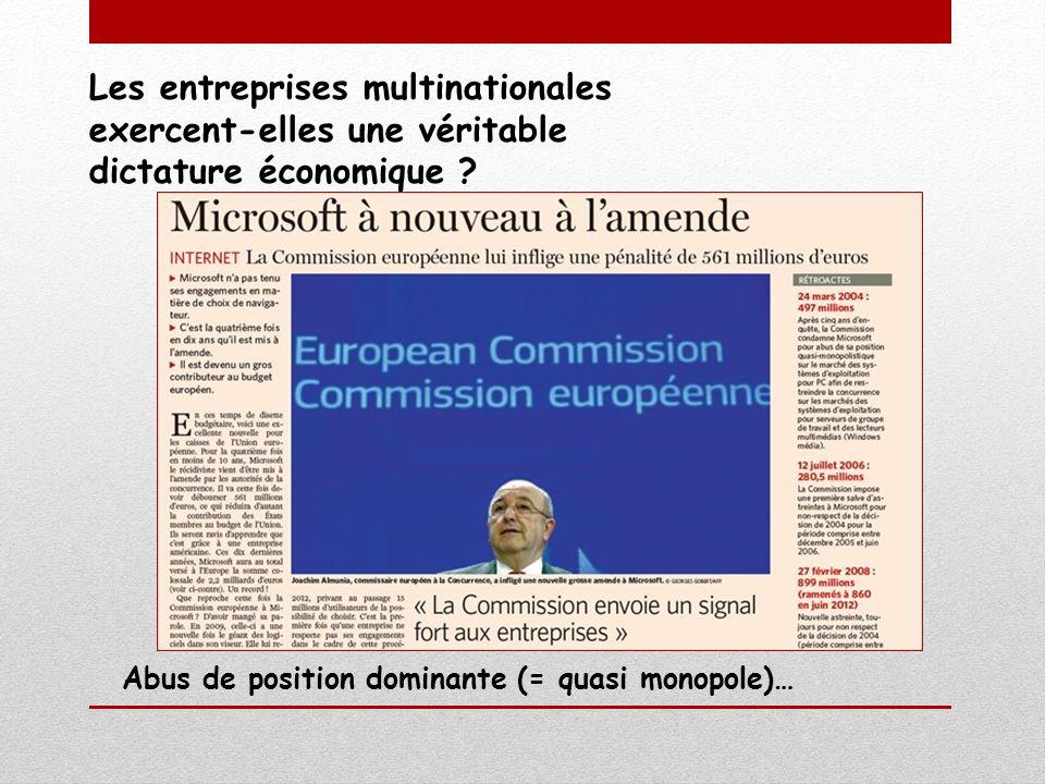 Les entreprises multinationales exercent-elles une véritable dictature économique ? Abus de position dominante (= quasi monopole)…