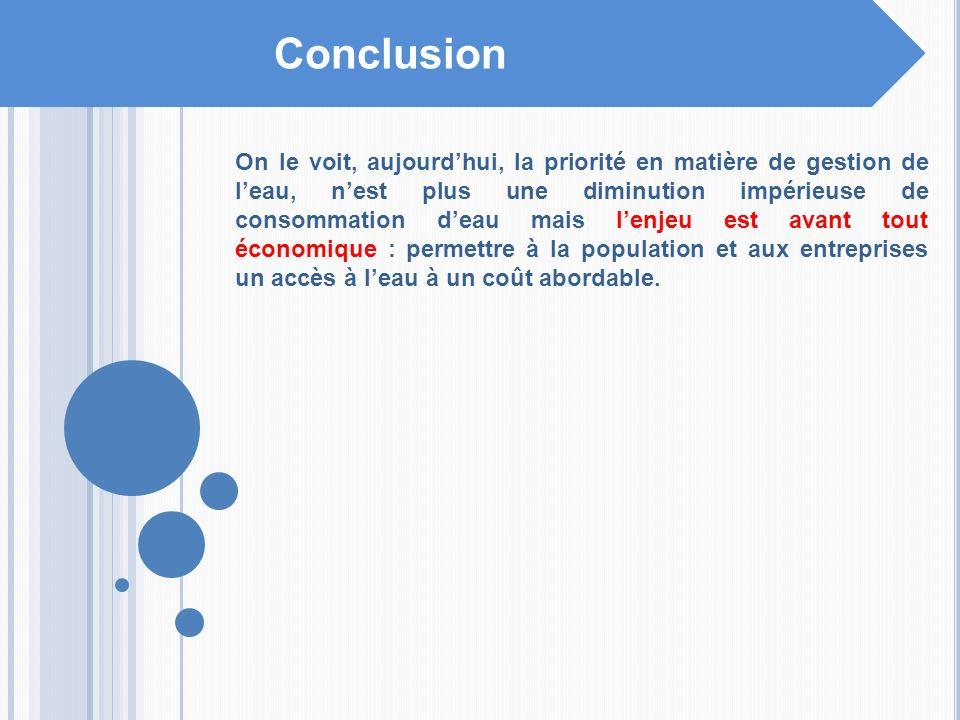 Conclusion On le voit, aujourdhui, la priorité en matière de gestion de leau, nest plus une diminution impérieuse de consommation deau mais lenjeu est