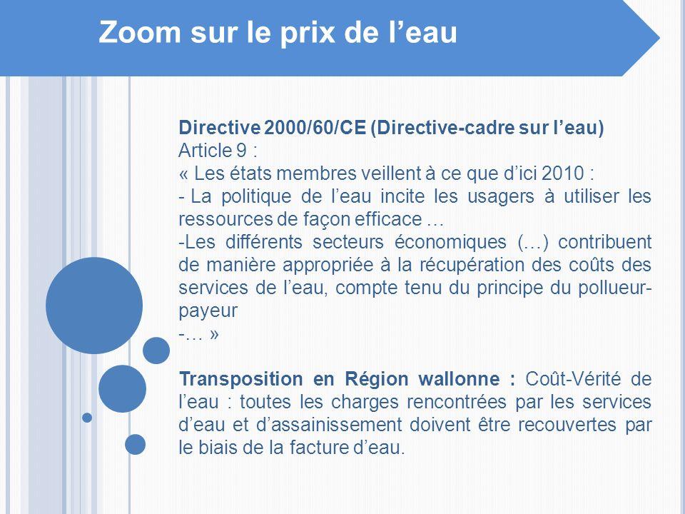 Zoom sur le prix de leau Directive 2000/60/CE (Directive-cadre sur leau) Article 9 : « Les états membres veillent à ce que dici 2010 : - La politique
