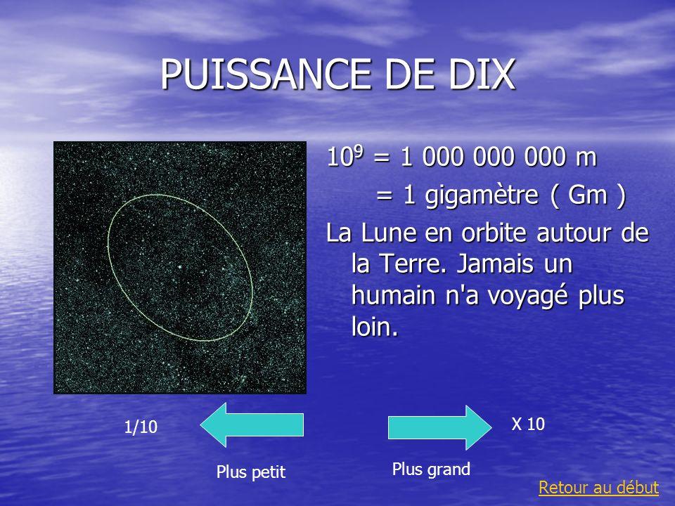 PUISSANCE DE DIX 10 9 = 1 000 000 000 m = 1 gigamètre ( Gm ) = 1 gigamètre ( Gm ) La Lune en orbite autour de la Terre. Jamais un humain n'a voyagé pl