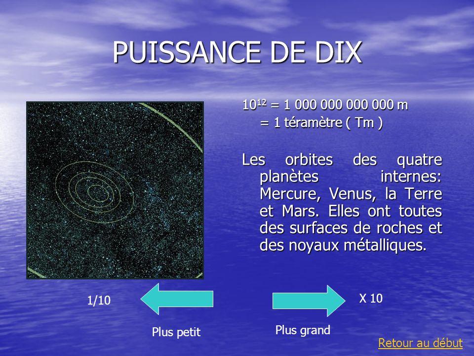 PUISSANCE DE DIX 10 12 = 1 000 000 000 000 m = 1 téramètre ( Tm ) Les orbites des quatre planètes internes: Mercure, Venus, la Terre et Mars. Elles on