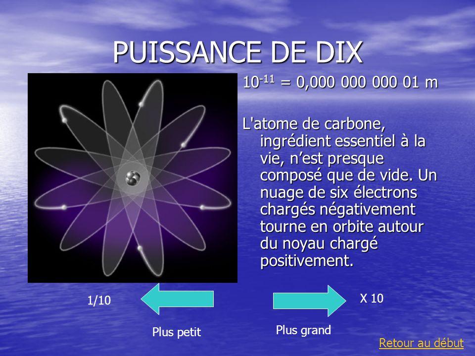 PUISSANCE DE DIX 10 -11 = 0,000 000 000 01 m L'atome de carbone, ingrédient essentiel à la vie, nest presque composé que de vide. Un nuage de six élec