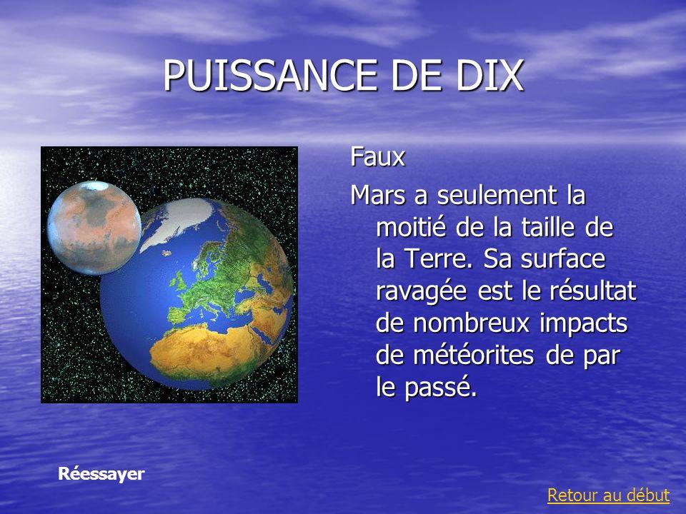 PUISSANCE DE DIX Faux Mars a seulement la moitié de la taille de la Terre. Sa surface ravagée est le résultat de nombreux impacts de météorites de par