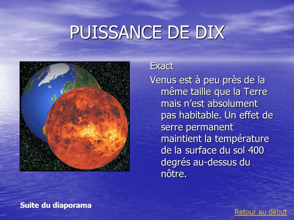 PUISSANCE DE DIX Exact Venus est à peu près de la même taille que la Terre mais nest absolument pas habitable. Un effet de serre permanent maintient l