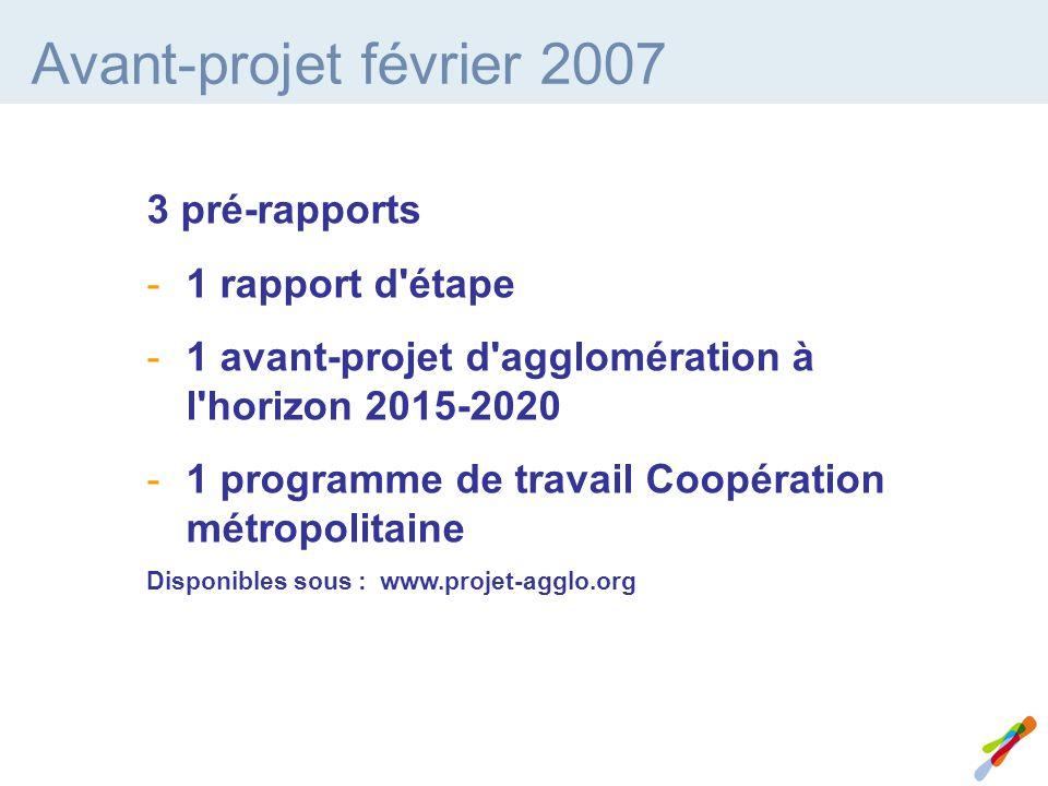 Avant-projet février 2007 3 pré-rapports -1 rapport d étape -1 avant-projet d agglomération à l horizon 2015-2020 -1 programme de travail Coopération métropolitaine Disponibles sous : www.projet-agglo.org