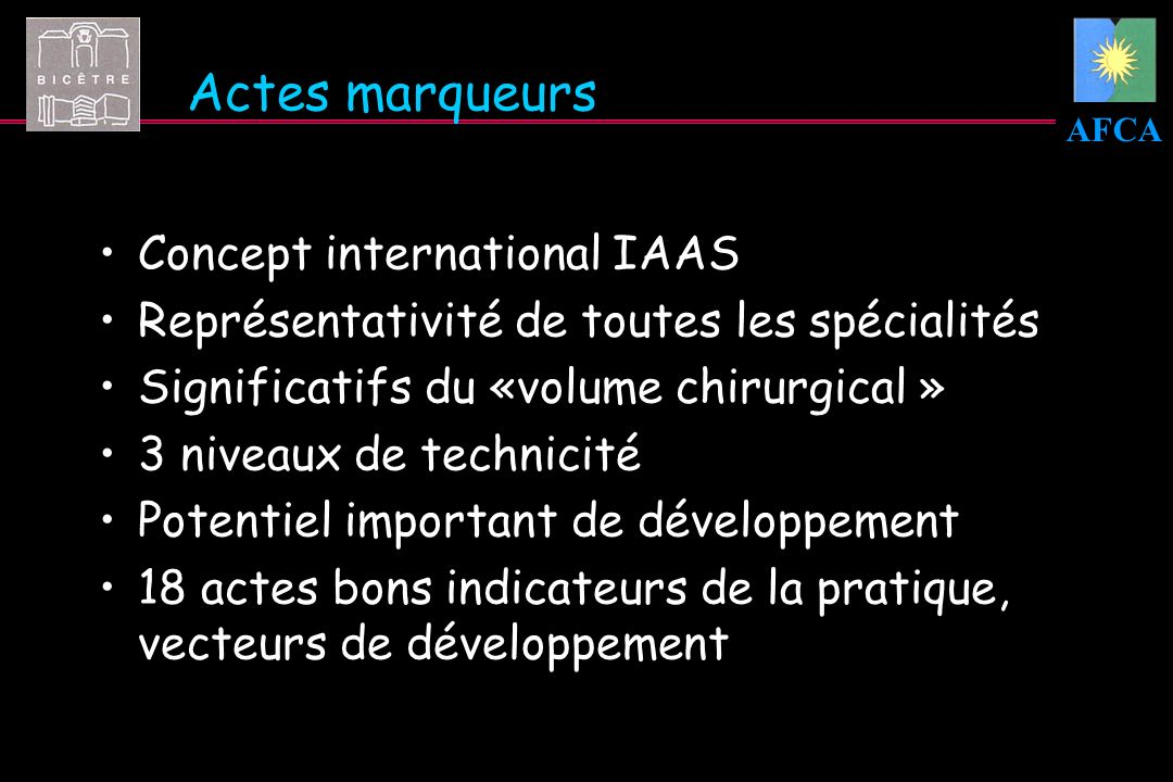 AFCA Actes marqueurs Concept international IAAS Représentativité de toutes les spécialités Significatifs du «volume chirurgical » 3 niveaux de technic