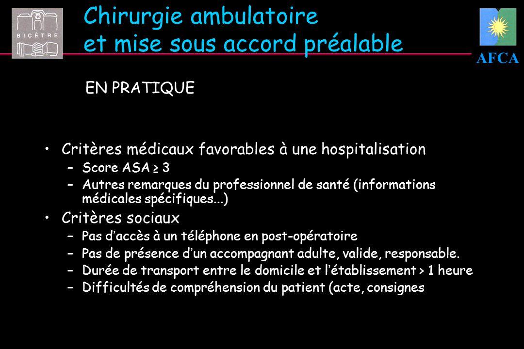 AFCA Chirurgie ambulatoire et mise sous accord préalable EN PRATIQUE Critères médicaux favorables à une hospitalisation –Score ASA 3 –Autres remarques