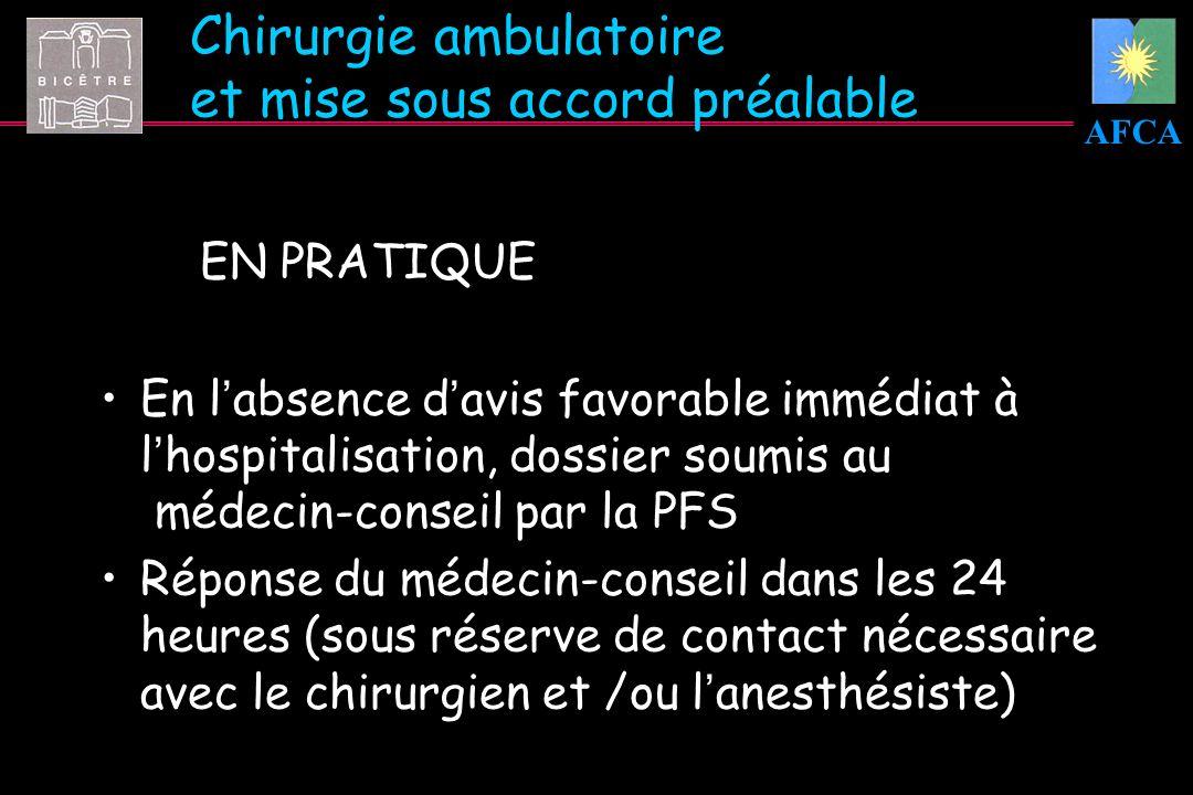 AFCA Chirurgie ambulatoire et mise sous accord préalable EN PRATIQUE En labsence davis favorable immédiat à lhospitalisation, dossier soumis au médeci