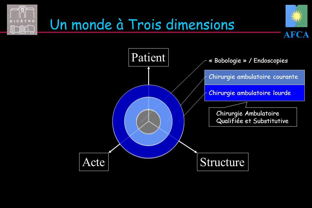 AFCA Chirurgie ambulatoire lourde Chirurgie ambulatoire courante « Bobologie » / Endoscopies Un monde à Trois dimensions Patient ActeStructure Chirurg