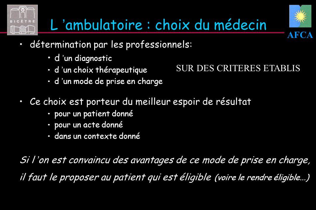 AFCA L ambulatoire : choix du médecin détermination par les professionnels: d un diagnostic d un choix thérapeutique d un mode de prise en charge Ce c
