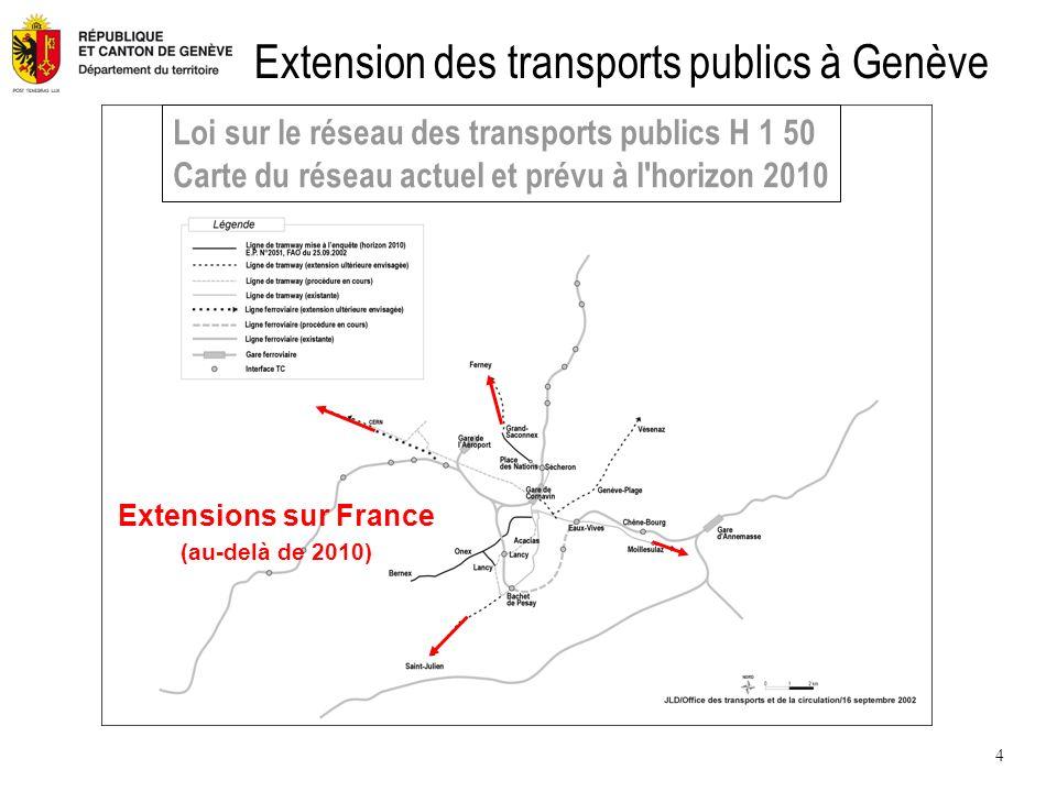 4 Extension des transports publics à Genève Extensions sur France (au-delà de 2010) Loi sur le réseau des transports publics H 1 50 Carte du réseau actuel et prévu à l horizon 2010