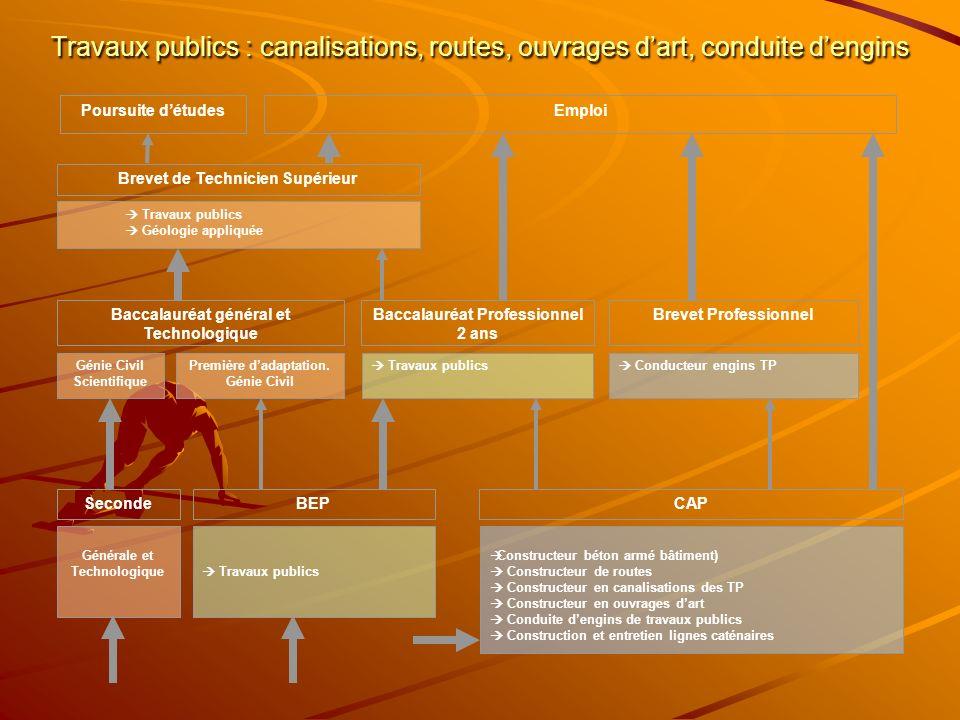 Travaux publics : canalisations, routes, ouvrages dart, conduite dengins Constructeur béton armé bâtiment) Constructeur de routes Constructeur en cana