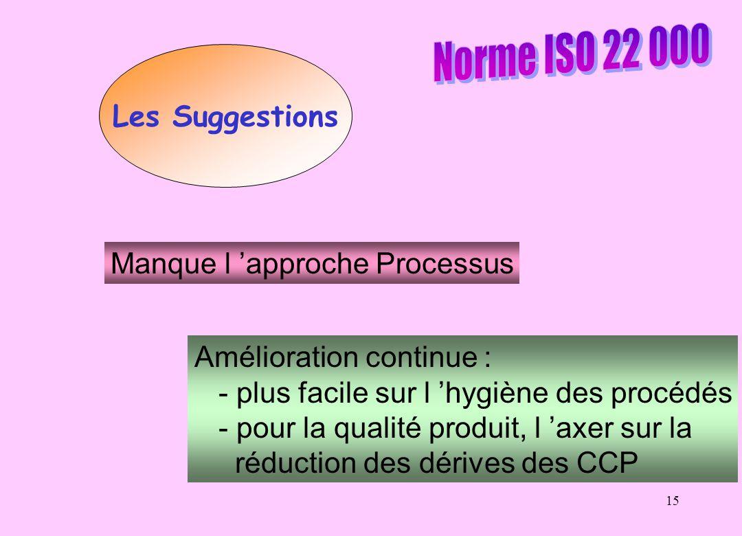 15 Les Suggestions Manque l approche Processus Amélioration continue : - plus facile sur l hygiène des procédés - pour la qualité produit, l axer sur la réduction des dérives des CCP