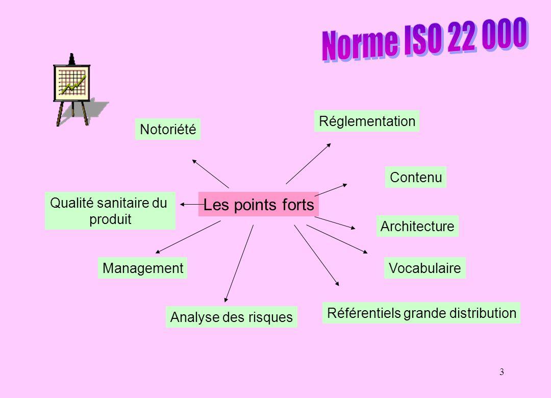 3 Les points forts Architecture Référentiels grande distribution Analyse des risques Management Qualité sanitaire du produit Notoriété Réglementation Contenu Vocabulaire