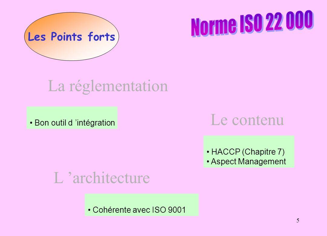 5 Les Points forts La réglementation Bon outil d intégration Le contenu HACCP (Chapitre 7) Aspect Management L architecture Cohérente avec ISO 9001