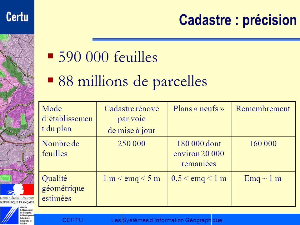 CERTULes Systèmes dInformation Géographique Cadastre : précision 590 000 feuilles 88 millions de parcelles Mode détablissemen t du plan Cadastre rénov