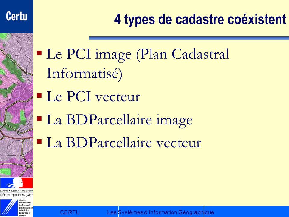 CERTULes Systèmes dInformation Géographique 4 types de cadastre coéxistent Le PCI image (Plan Cadastral Informatisé) Le PCI vecteur La BDParcellaire i